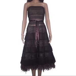 Brown lace ostrich feather tiered dress